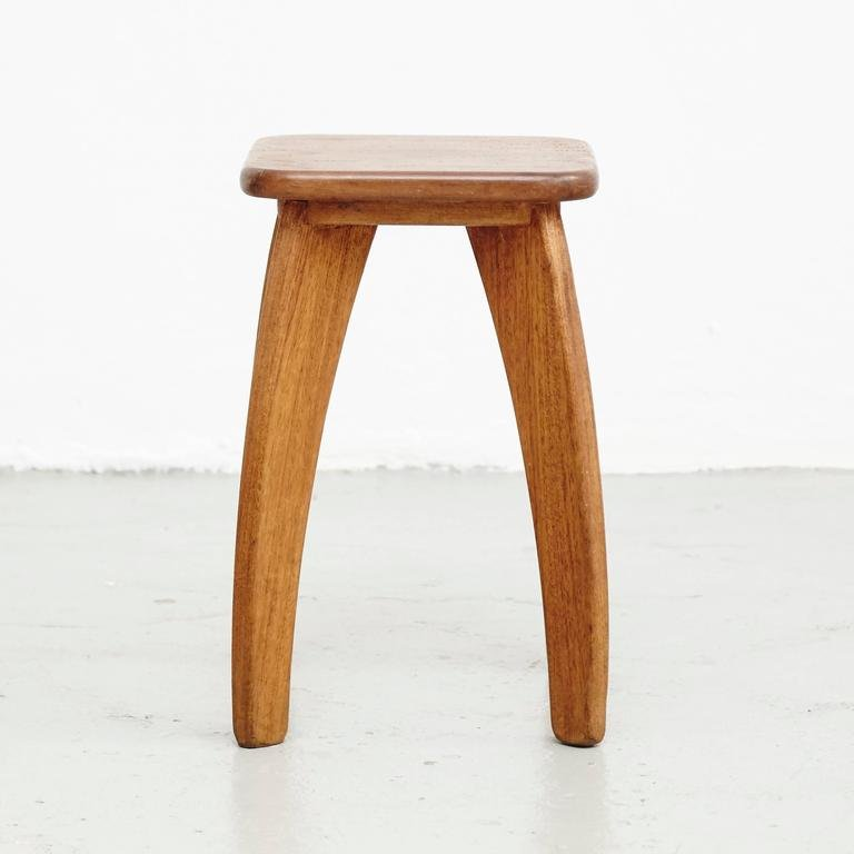 French Four Legged Wooden Stool 1950s For Sale At Pamono