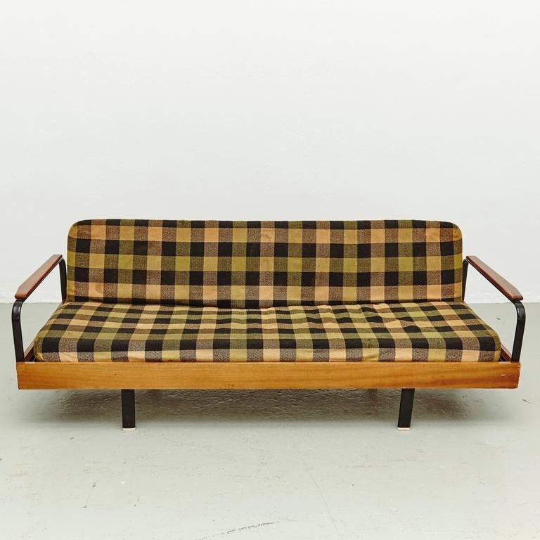 franz sisches kariertes vintage sofa liege bei pamono kaufen. Black Bedroom Furniture Sets. Home Design Ideas