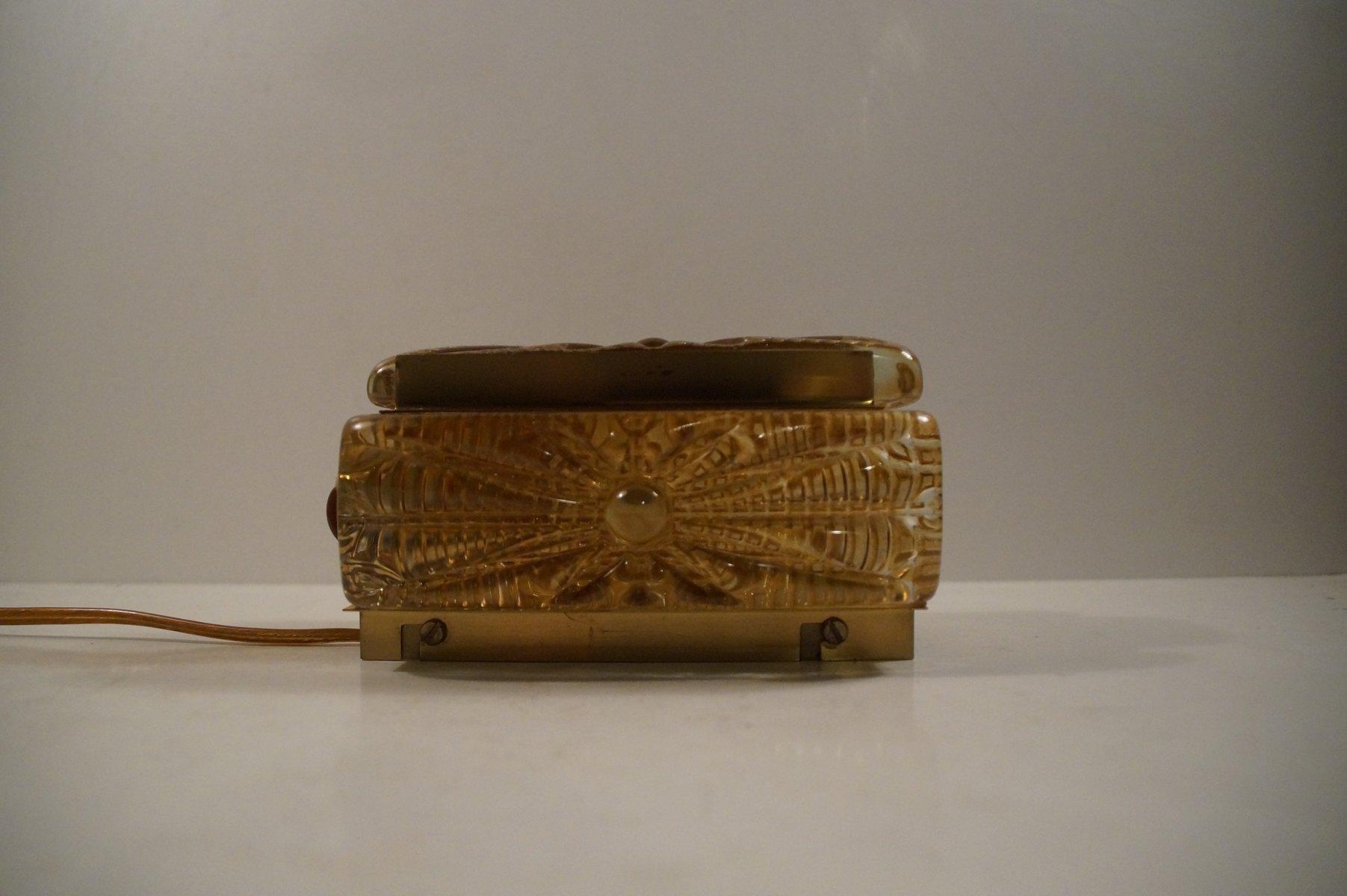 Aladdin Amber Glass U0026 Brass Wall Sconce From Vitrika, 1960s For Sale At  Pamono