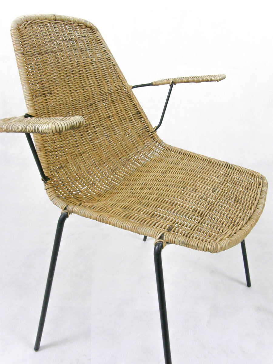Mid Century Rattan Chair By Campo E Graffi For Home At Pamono