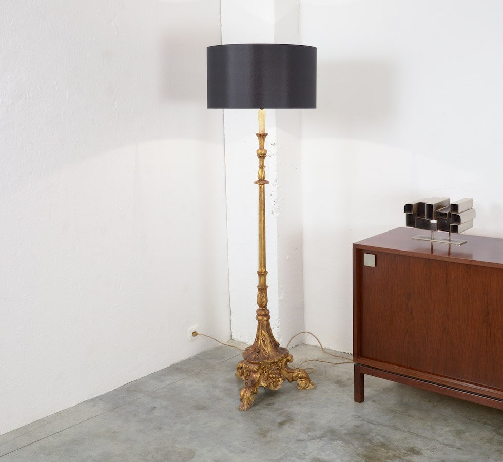 Vintage gold plated wooden floor lamp for sale at pamono vintage gold plated wooden floor lamp aloadofball Images