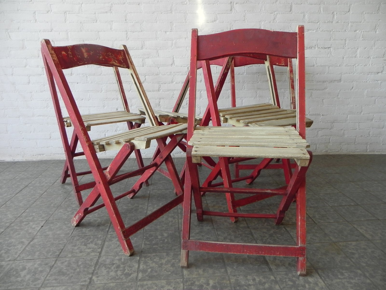 Wooden Folding Chairs 1940s Set of 6 for sale at Pamono