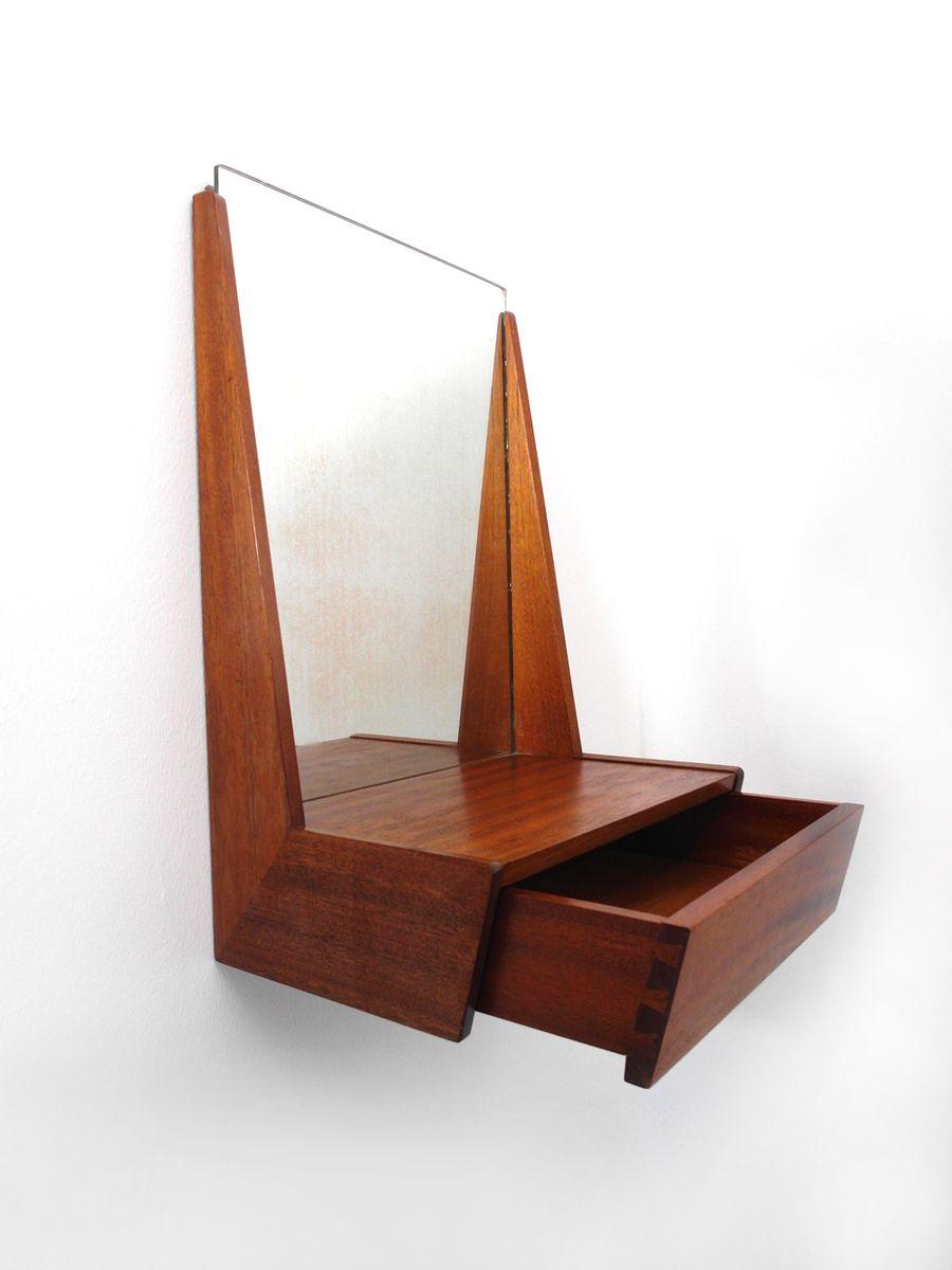 d nischer spiegel mit teakholz rahmen schublade 1960er. Black Bedroom Furniture Sets. Home Design Ideas