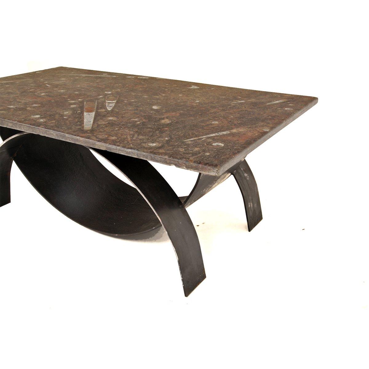modernistischer couchtisch mit fossil steinplatte 1980er bei pamono kaufen. Black Bedroom Furniture Sets. Home Design Ideas