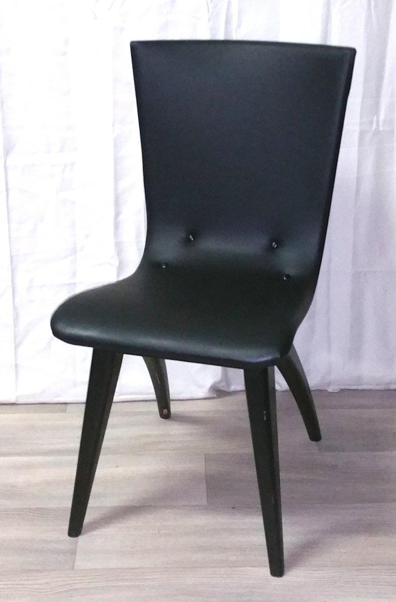 schwarzer holz vinyl swingchair von van os culemborg bei pamono kaufen. Black Bedroom Furniture Sets. Home Design Ideas