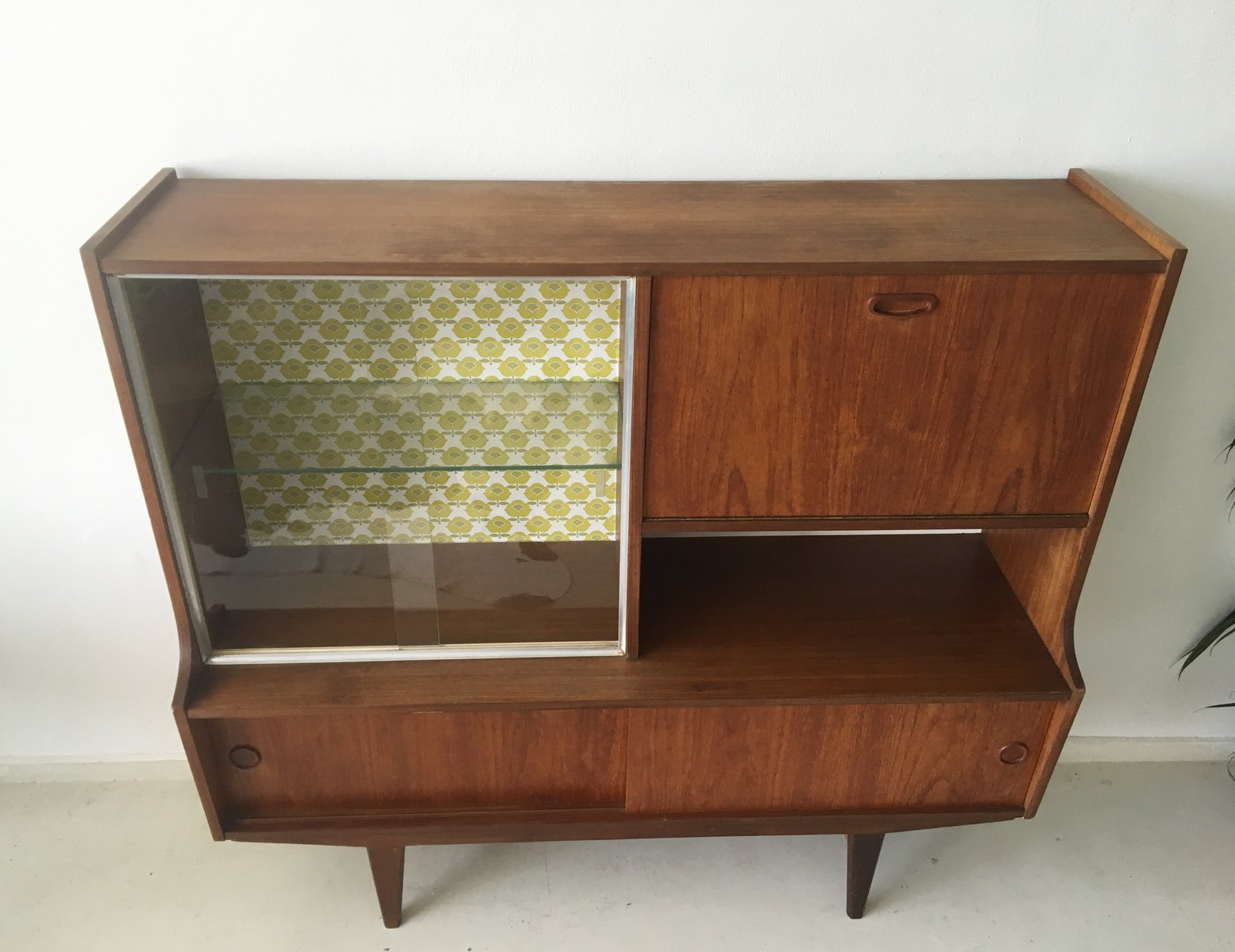 mid century dutch teak highboard with vintage wallpaper for sale at pamono. Black Bedroom Furniture Sets. Home Design Ideas