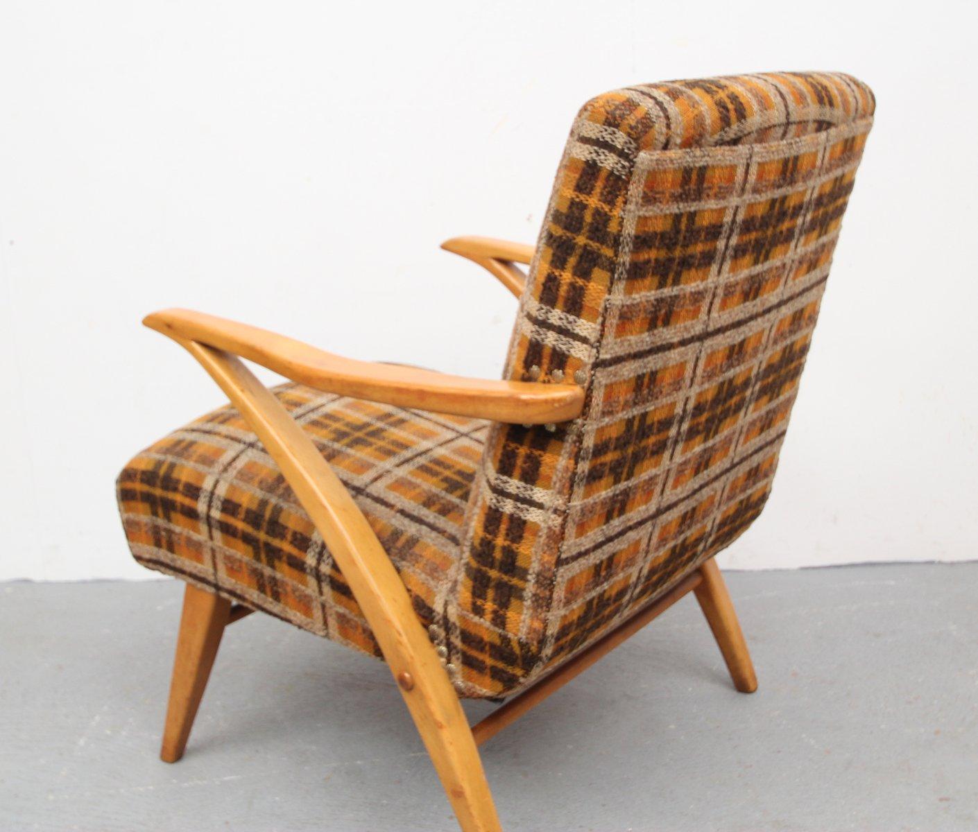 holz sessel mit karomuster 1950er bei pamono kaufen. Black Bedroom Furniture Sets. Home Design Ideas