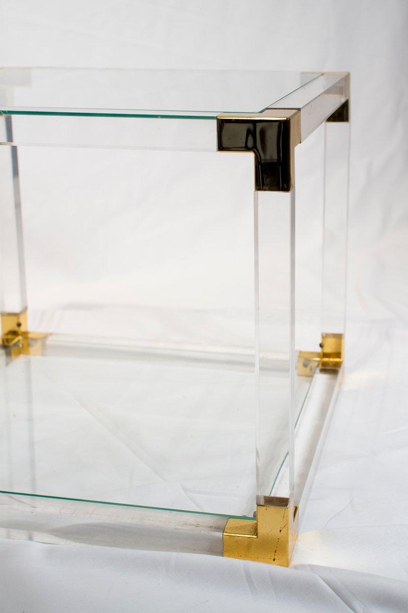 Franz sischer plexiglas und messing beistelltisch 1970er for Beistelltisch plexiglas