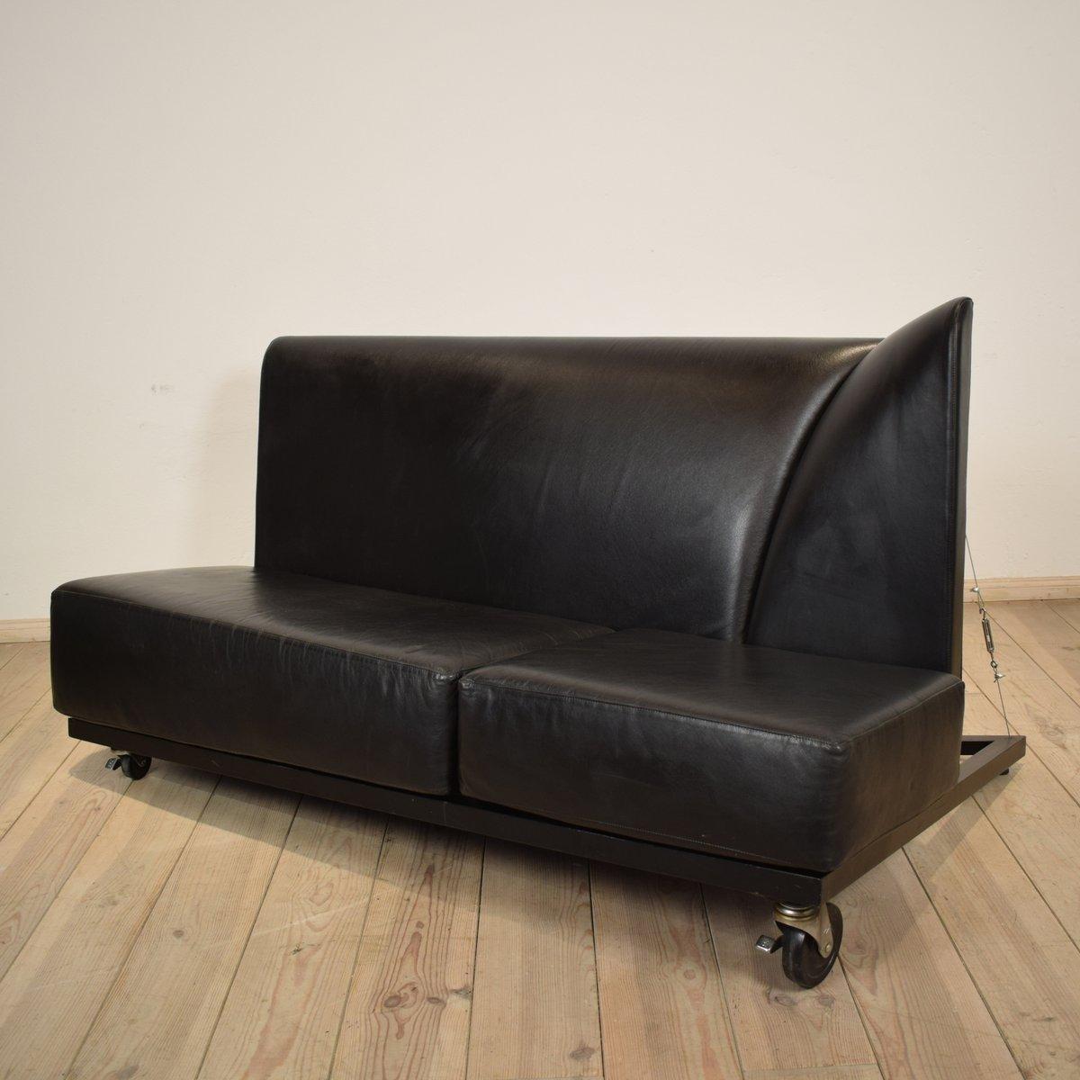 schwarzes ledersofa von pallucco m rivier f r pallucco bei pamono kaufen. Black Bedroom Furniture Sets. Home Design Ideas
