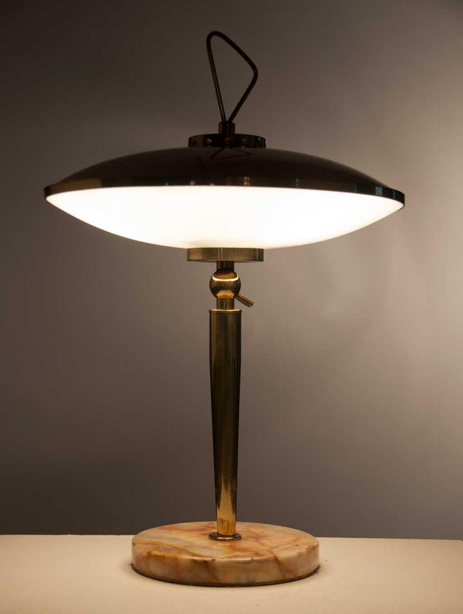 messing glas marmor tischlampe 1950er bei pamono kaufen. Black Bedroom Furniture Sets. Home Design Ideas