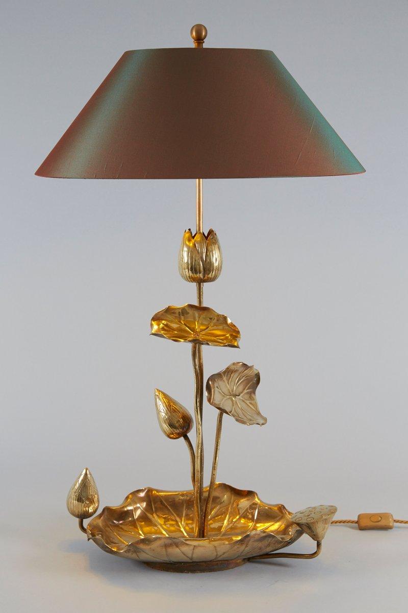 hollywood regency messing lotus tischlampe 1950er bei pamono kaufen. Black Bedroom Furniture Sets. Home Design Ideas