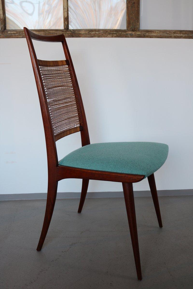 d nische teak st hle mit gewebten r ckenlehnen 1960er 4er set bei pamono kaufen. Black Bedroom Furniture Sets. Home Design Ideas