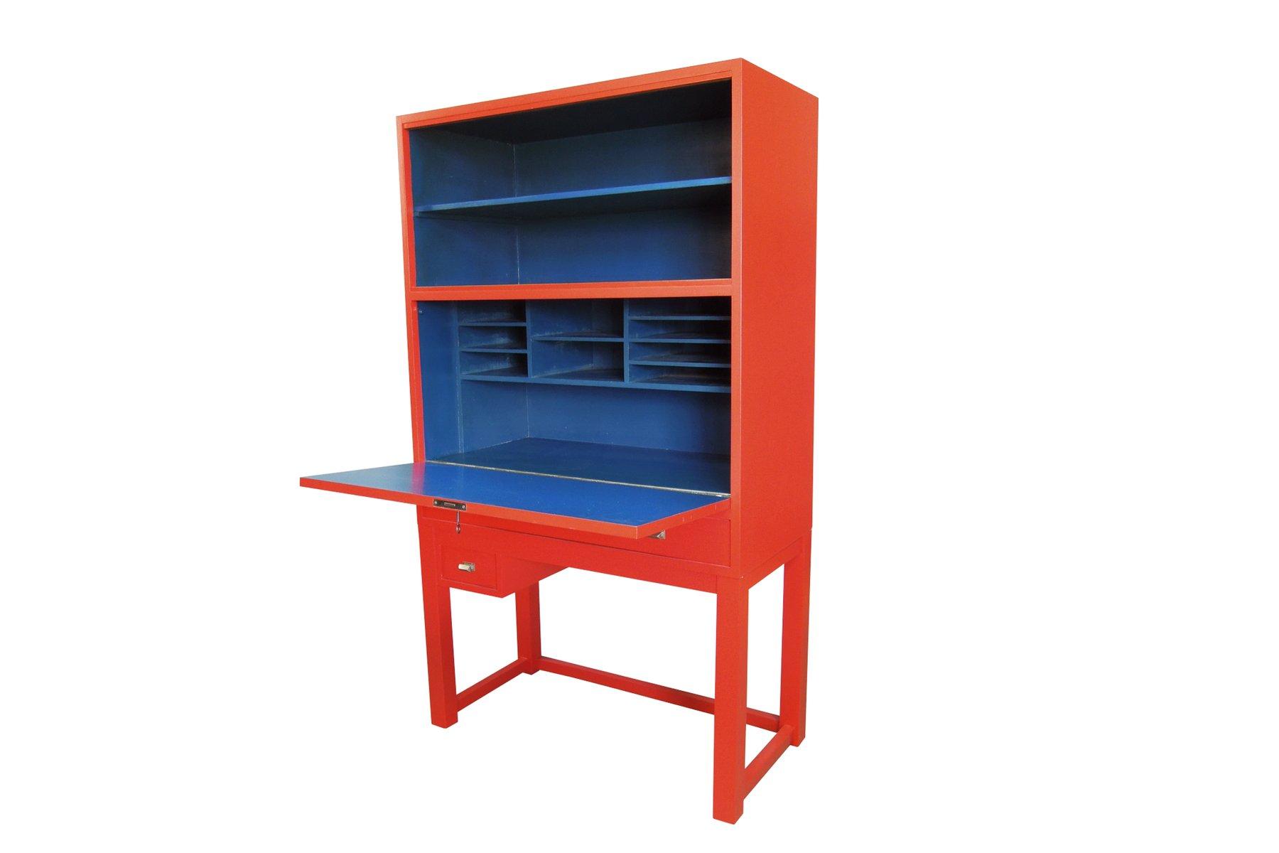 vintage schrank in rot blau bei pamono kaufen. Black Bedroom Furniture Sets. Home Design Ideas