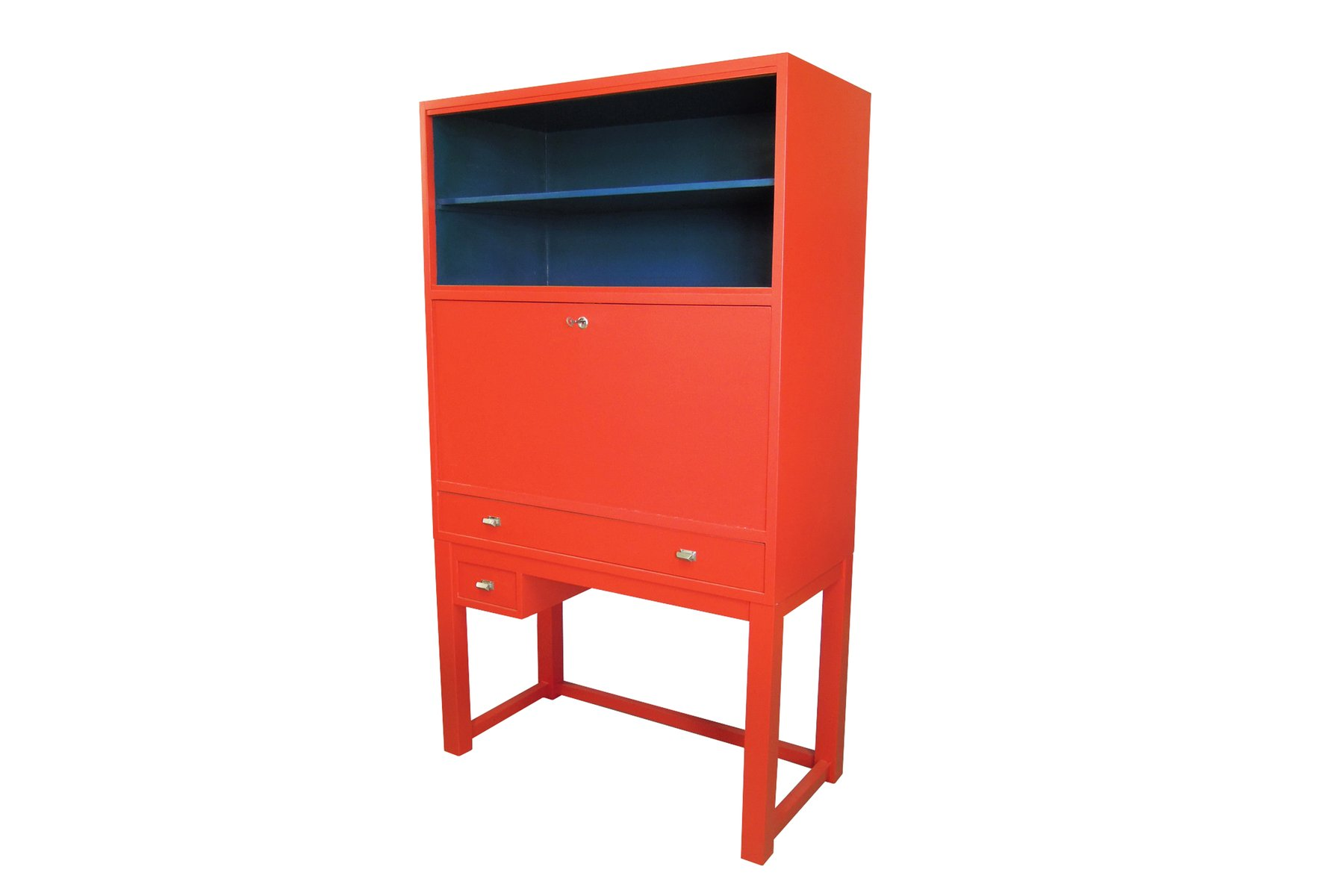 Vintage red and blue cabinet for sale at pamono for Sideboard 3 meter lang