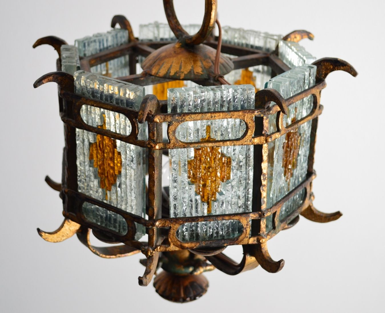 Italian brustalist cut glass gilt wrought iron lantern pendant italian brustalist cut glass gilt wrought iron lantern pendant 1960s aloadofball Gallery