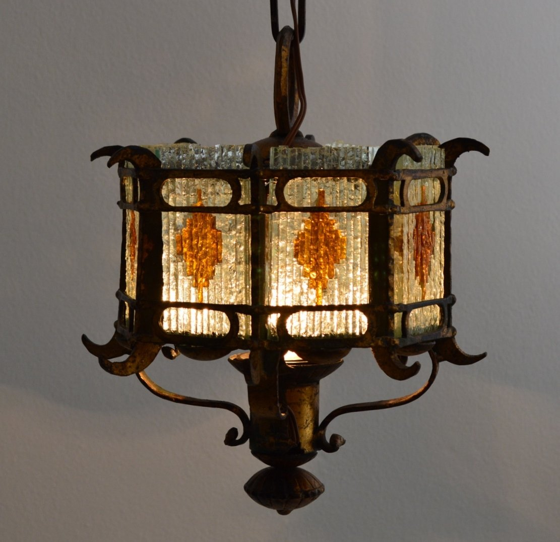 Italian brustalist cut glass gilt wrought iron lantern pendant italian brustalist cut glass gilt wrought iron lantern pendant 1960s for sale at pamono aloadofball Gallery