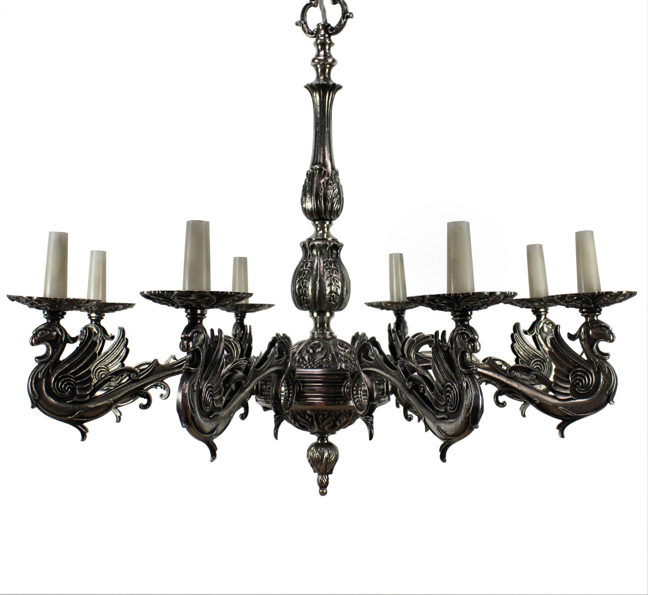 French silvered bronze gothic style chandelier 1900s for sale at pamono french silvered bronze gothic style chandelier 1900s aloadofball Gallery