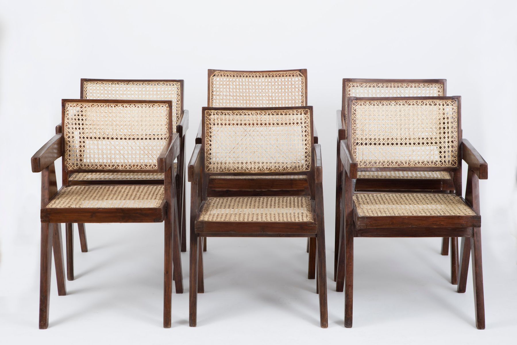 office cane chairs by pierre jeanneret set of 6 for sale at pamono. Black Bedroom Furniture Sets. Home Design Ideas