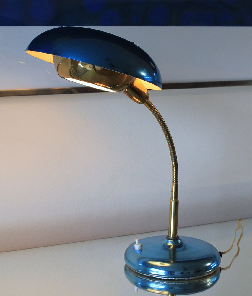 Blue aluminium flying saucer lamp 1950s for sale at pamono blue aluminium flying saucer lamp 1950s arubaitofo Gallery