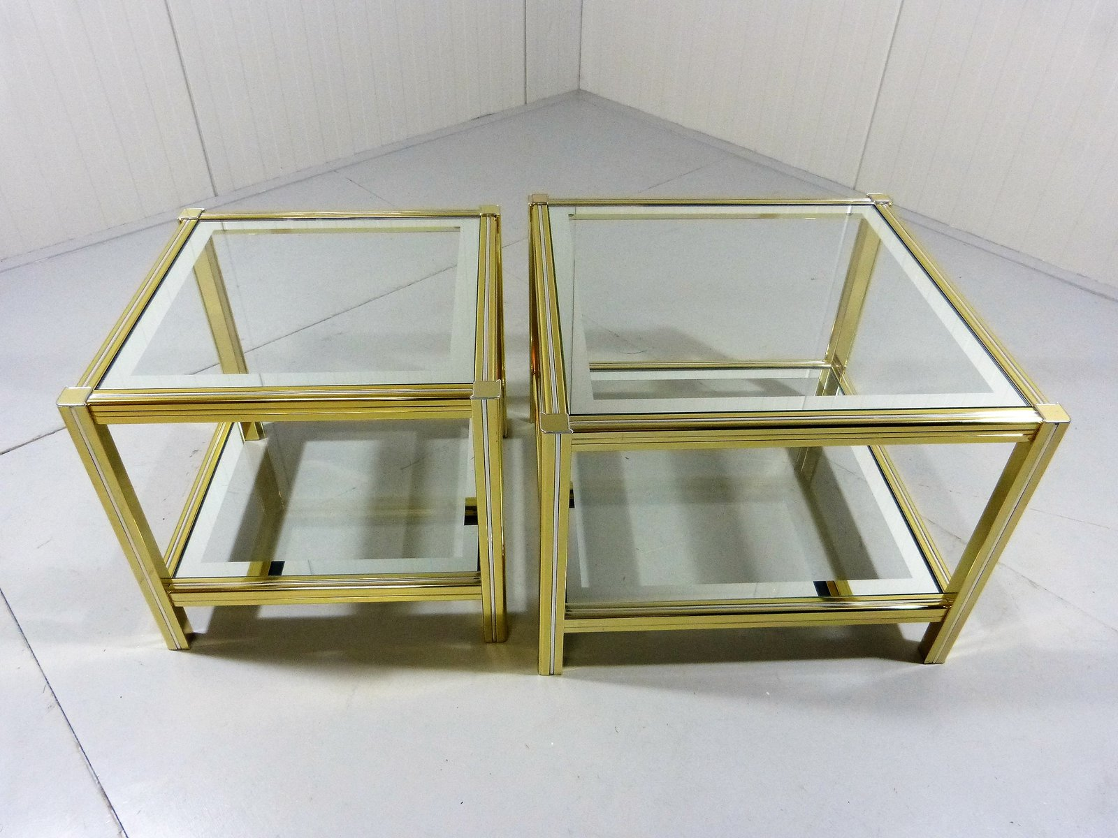 Hollywood Regency Brass U0026 Chrome Side Tables, Set Of 2 For Sale At Pamono