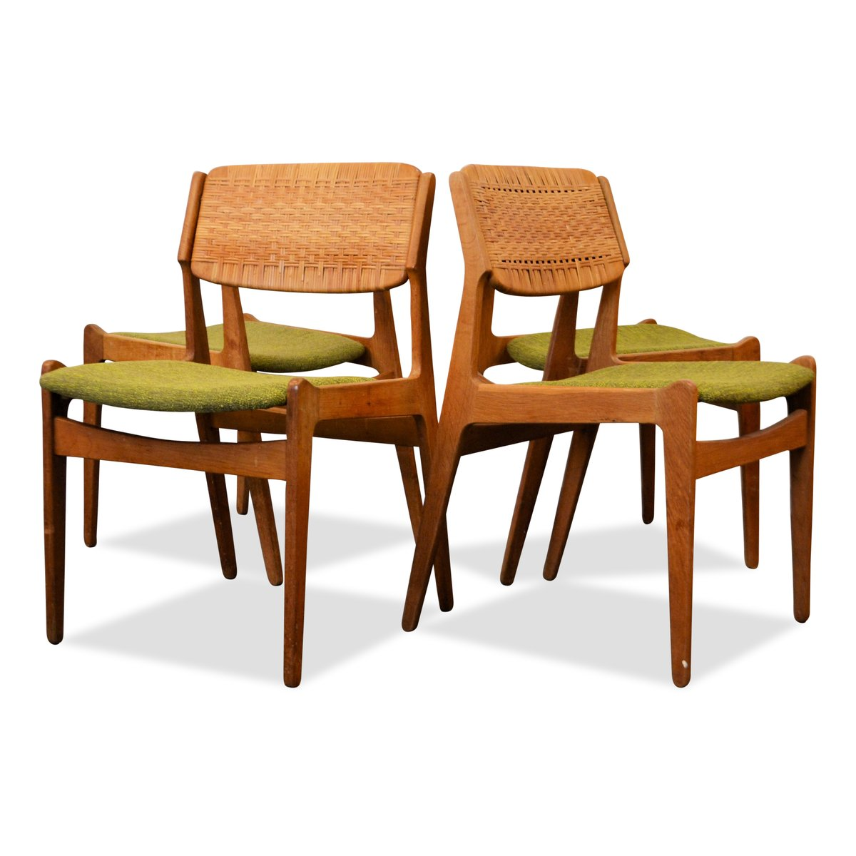 Danish Green Rattan Dining Chairs By Erik Buch Set Of 4 For Sale At Pamono