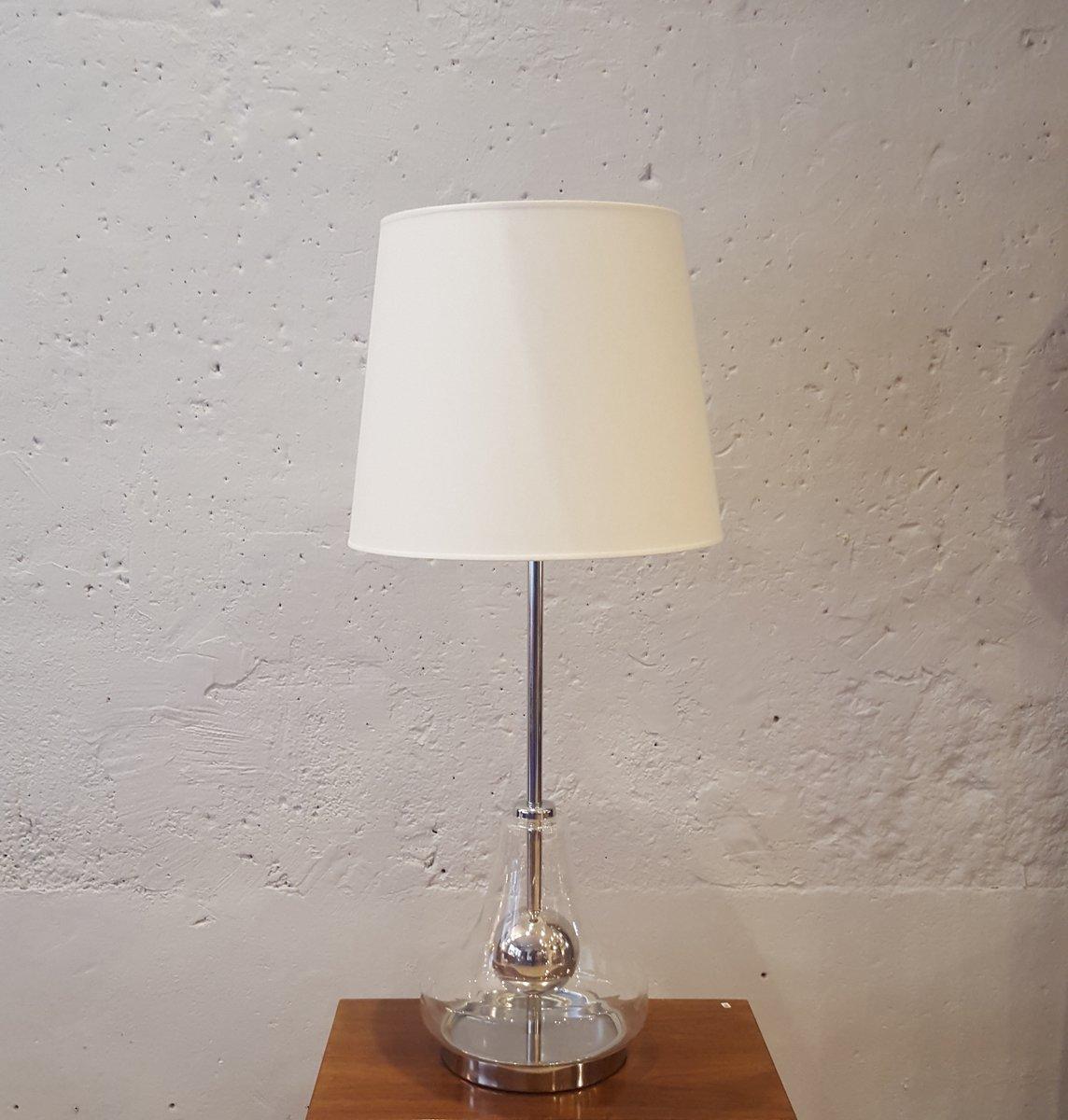 gro e lampe aus glas verchromten metall 1970er bei pamono kaufen. Black Bedroom Furniture Sets. Home Design Ideas