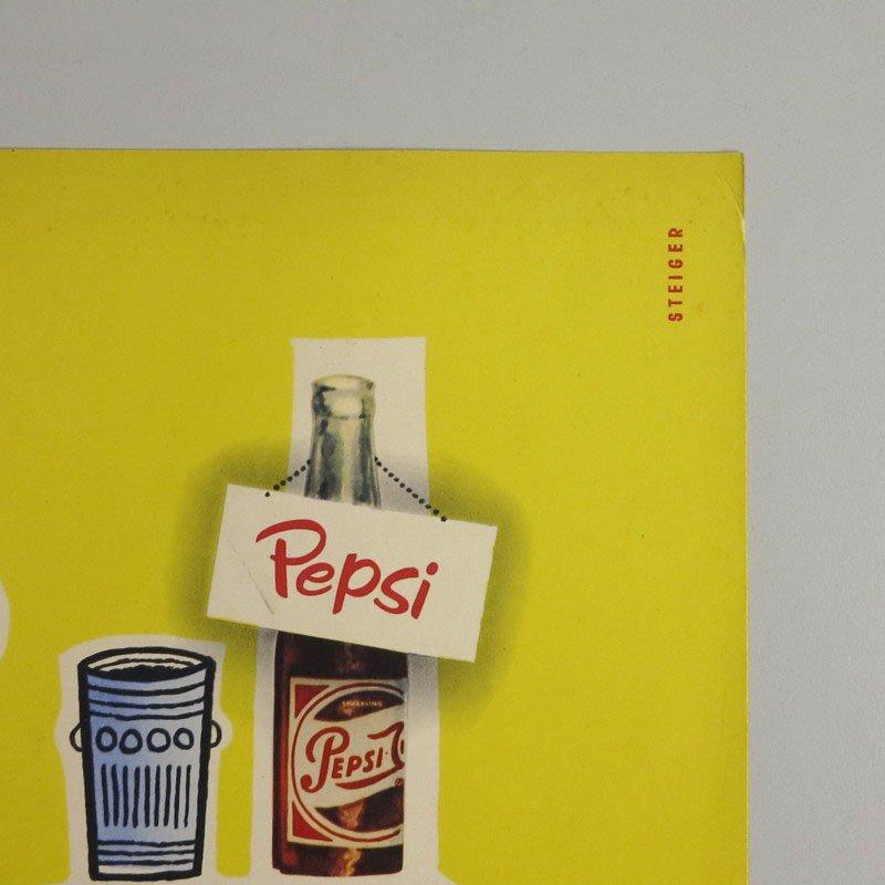 karton pappe pepsi poster 1960er bei pamono kaufen. Black Bedroom Furniture Sets. Home Design Ideas