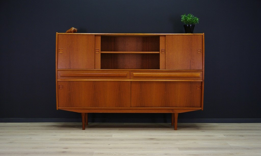 d nisches teak highboard mit zwei schubladen 1960er bei. Black Bedroom Furniture Sets. Home Design Ideas