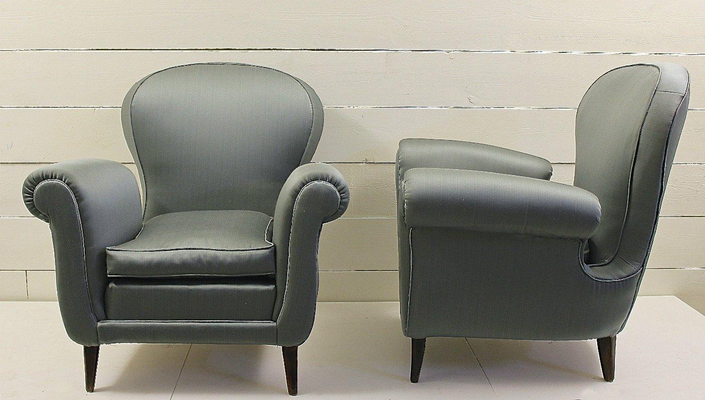 Italienische sessel aus blauem satin 1950er 2er set bei for Italienische sessel