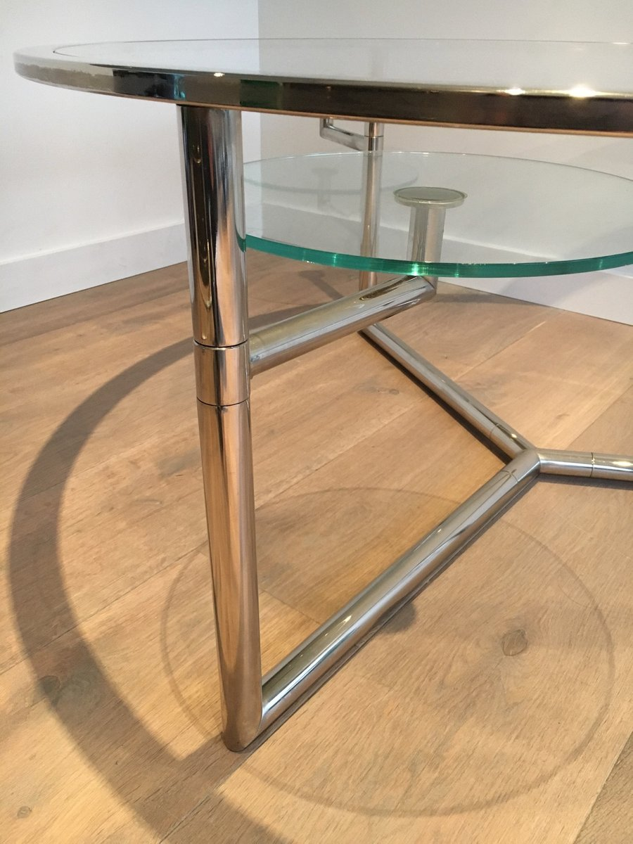 Round Coffee Table with Moveable Glass Tops 1970s for sale at Pamono