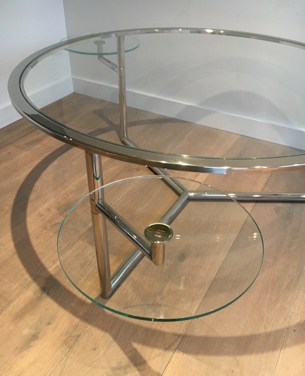 Round Coffee Table With Moveable Glass Tops, 1970s For