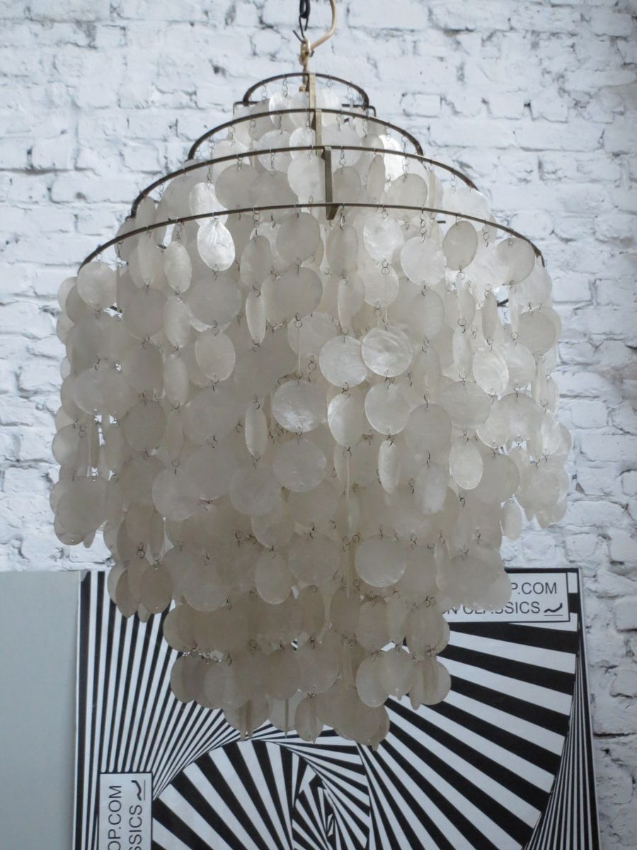 Attractive Fun 0DM Mother Of Pearl Chandelier By Verner Panton For J. Luber AG, 1960s  For Sale At Pamono