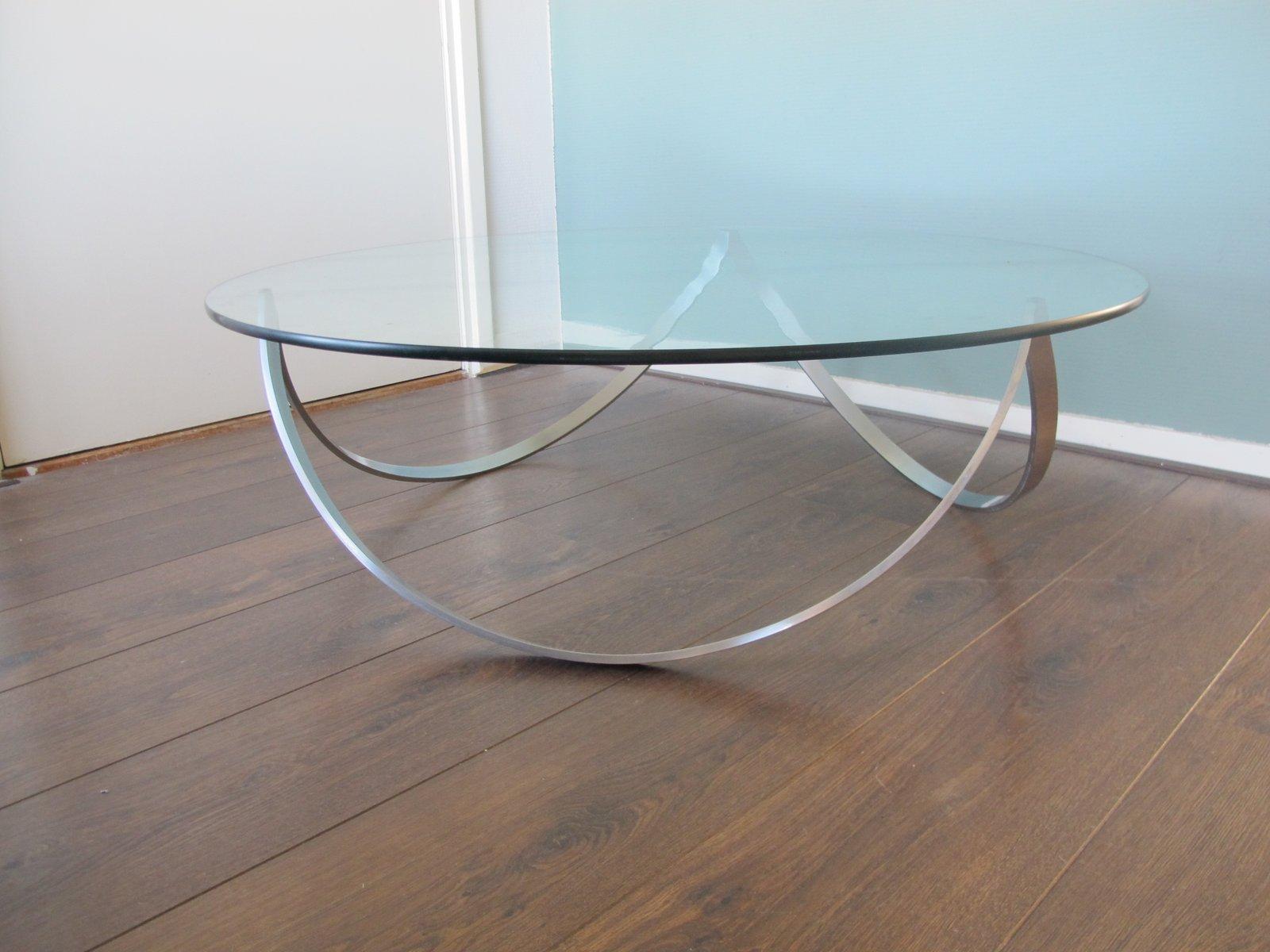 Tavolino da caffè in vetro e acciaio, anni \'60 in vendita su Pamono