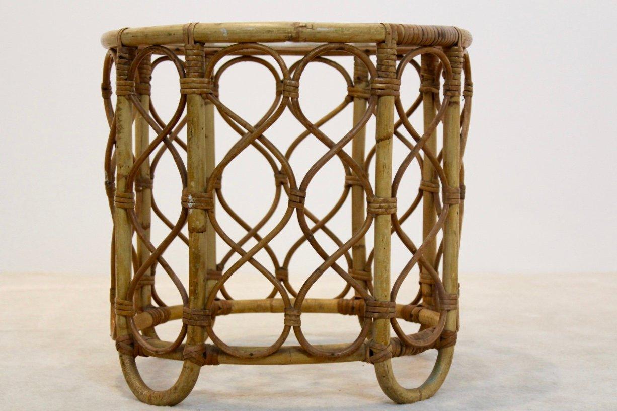 niederl ndischer vintage beistelltisch aus korbgeflecht mit glasplatte von roh noordwolde bei. Black Bedroom Furniture Sets. Home Design Ideas