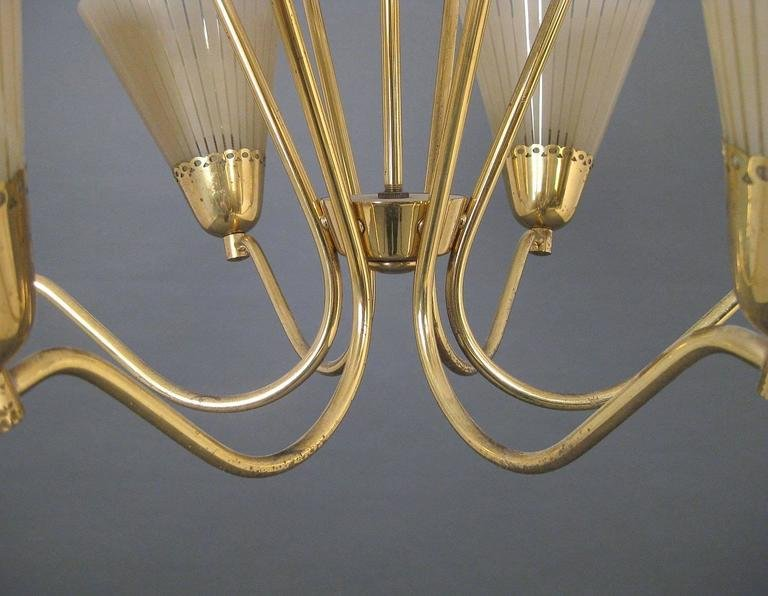 German brass etched glass chandelier 1950s for sale at pamono price per piece mozeypictures Image collections