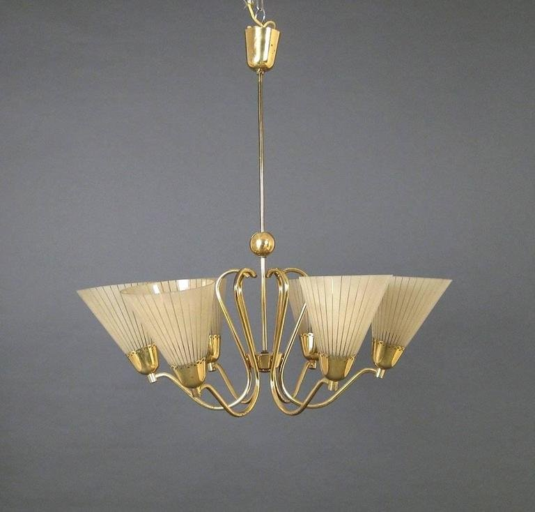 German brass etched glass chandelier 1950s for sale at pamono german brass etched glass chandelier 1950s mozeypictures Image collections