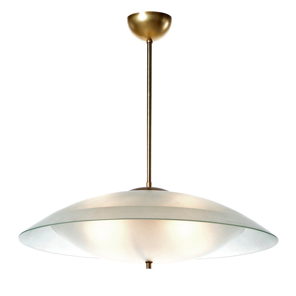 gro e h ngelampe mit sechs leuchten aus satinglas 1950er bei pamono kaufen. Black Bedroom Furniture Sets. Home Design Ideas