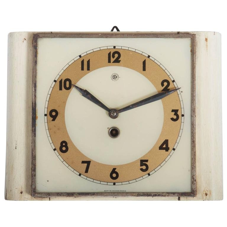 Czech Art Deco Wall Clock From Chomutov, 1930s