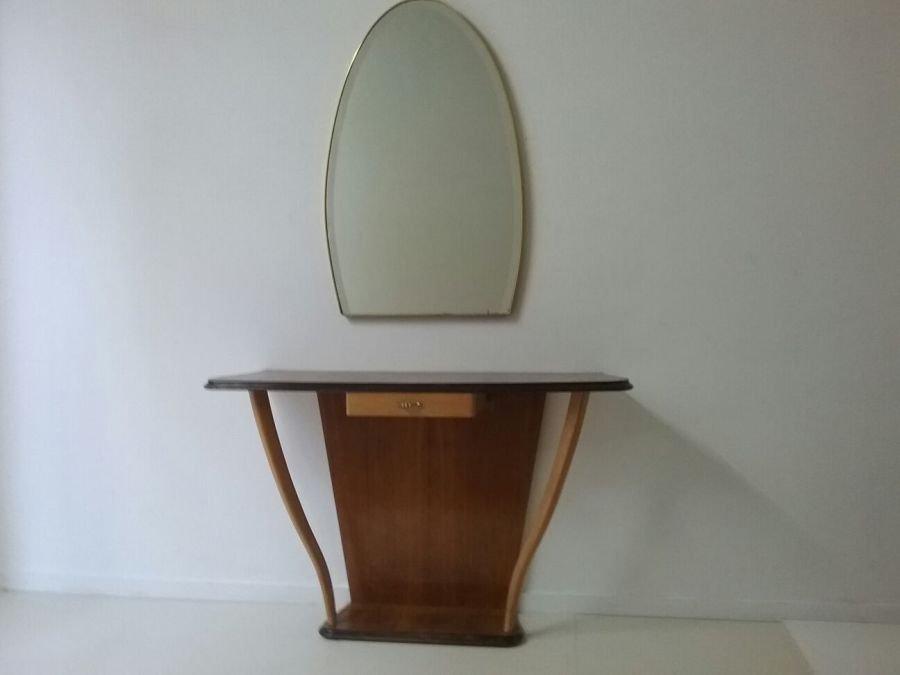 vintage konsolentisch mit spiegel 1950er bei pamono kaufen. Black Bedroom Furniture Sets. Home Design Ideas