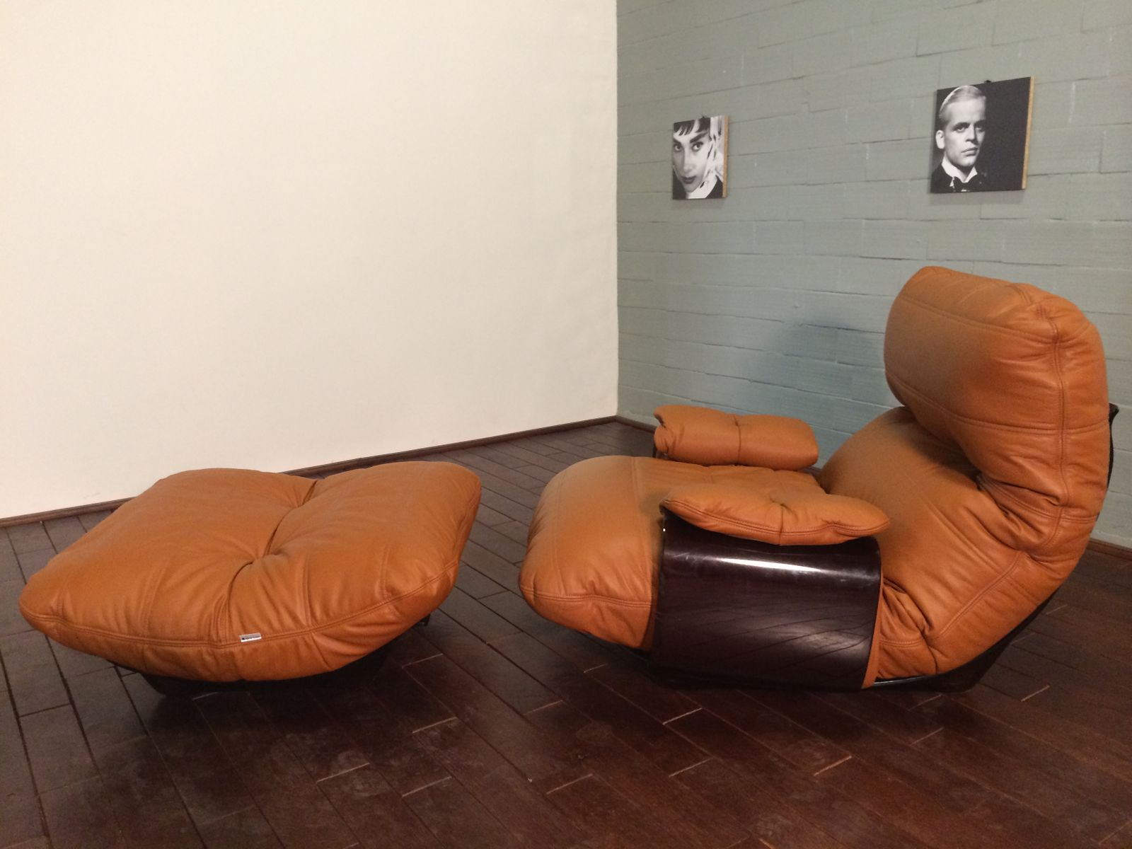 Cognac Leather Marsala Lounge Chair and Pouf by Michel Ducaroy for ...