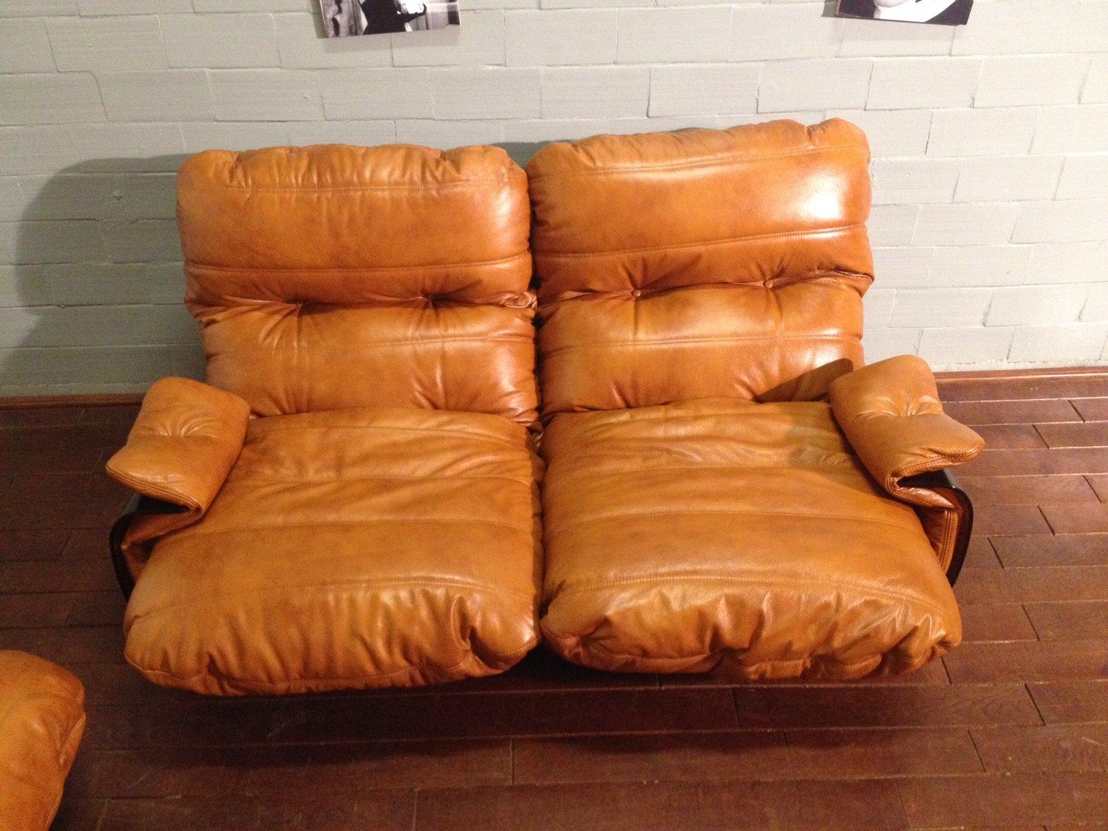 cognac farbene marsala ledersessel von michel ducaroy f r. Black Bedroom Furniture Sets. Home Design Ideas