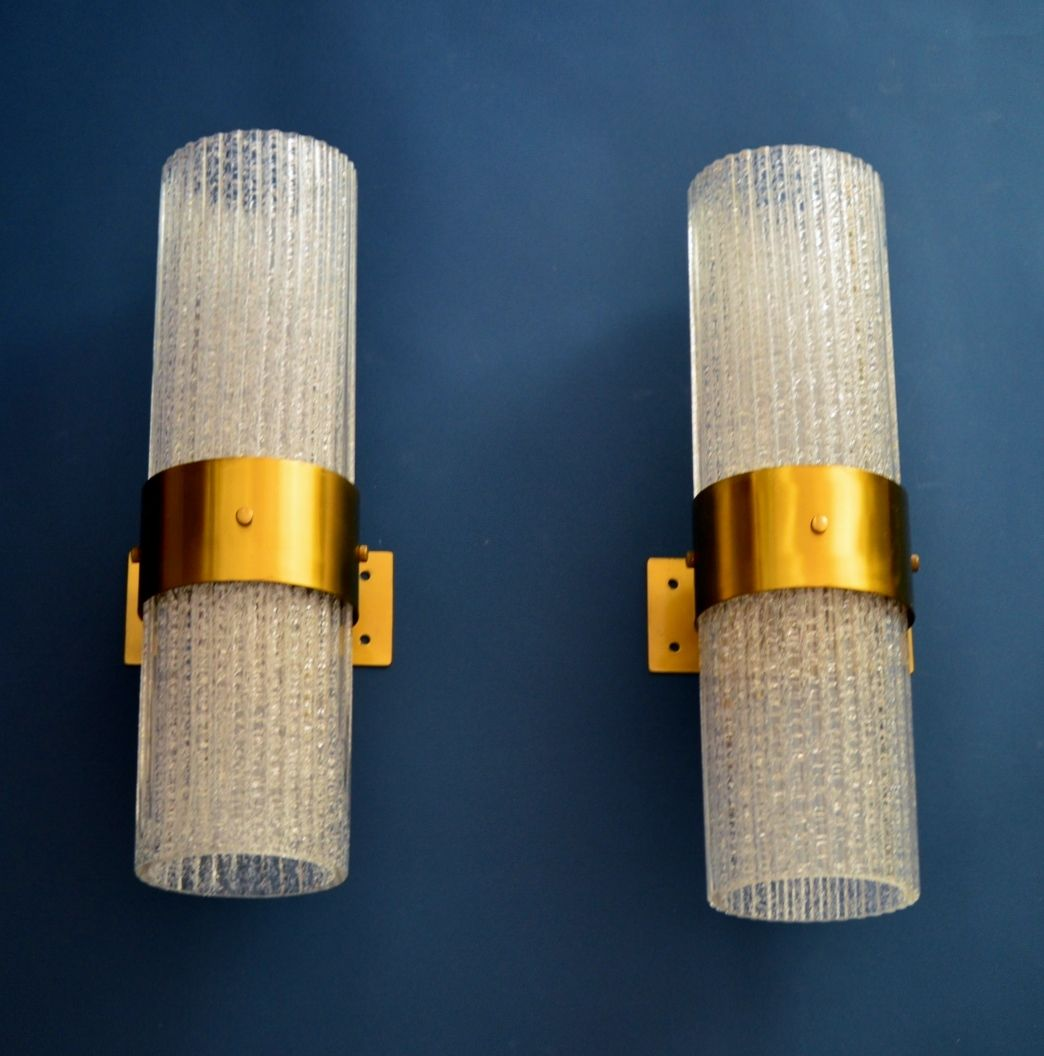 Large Modernist Brass And Glass Wall Sconces From Murano, 1960s, Set Of 2