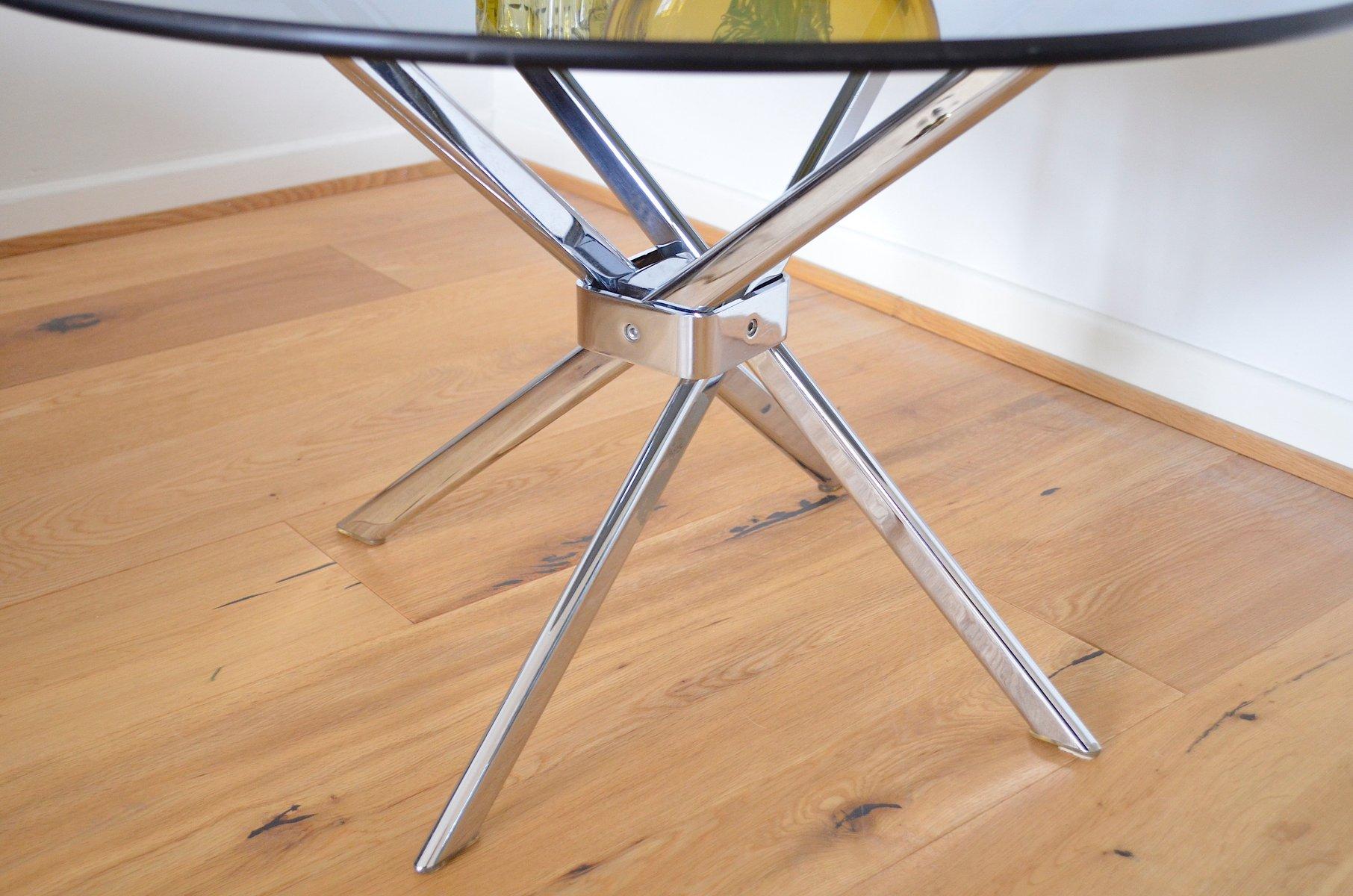 deutscher vintage beistelltisch aus verchromtem metall rauchglas bei pamono kaufen. Black Bedroom Furniture Sets. Home Design Ideas