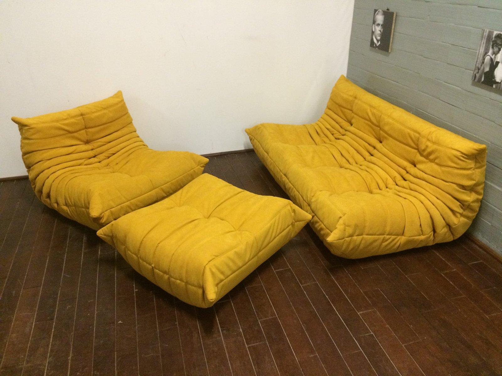 Yellow Alcantara Togo Sofa Set By Michel Ducaroy For Ligne