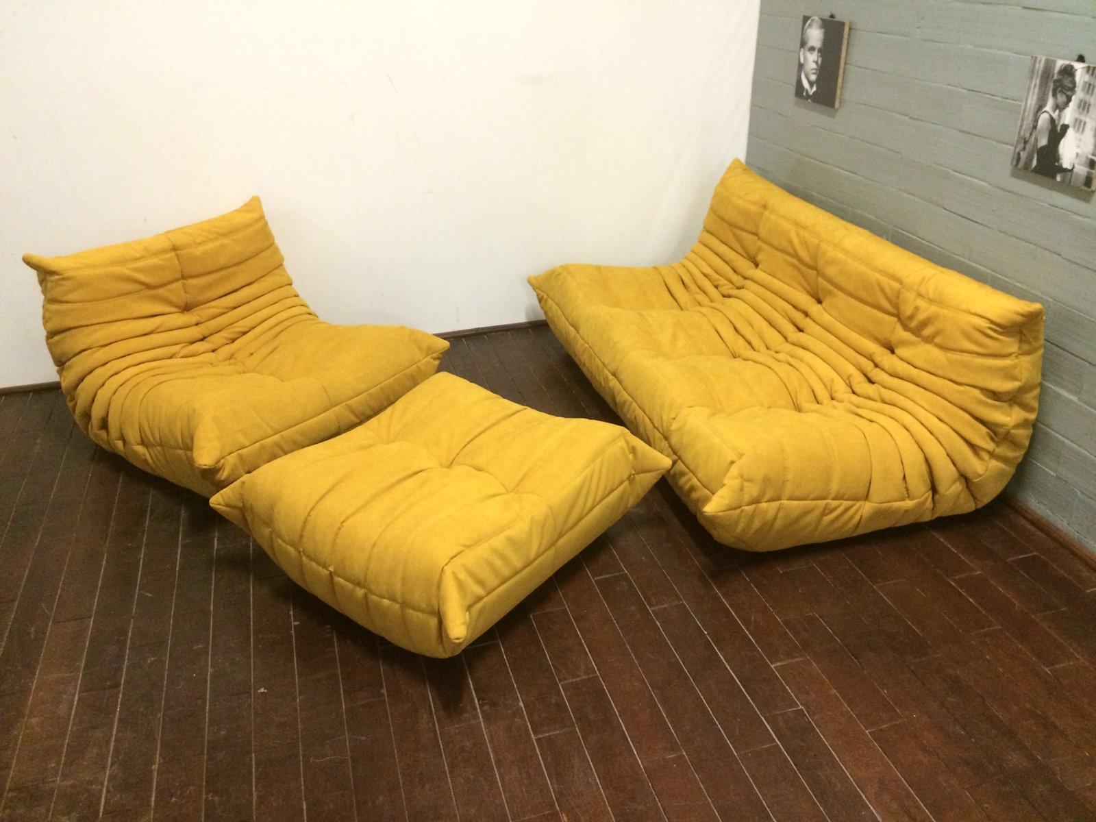 Sofa Alcantara yellow alcantara togo sofa set by michel ducaroy for ligne roset
