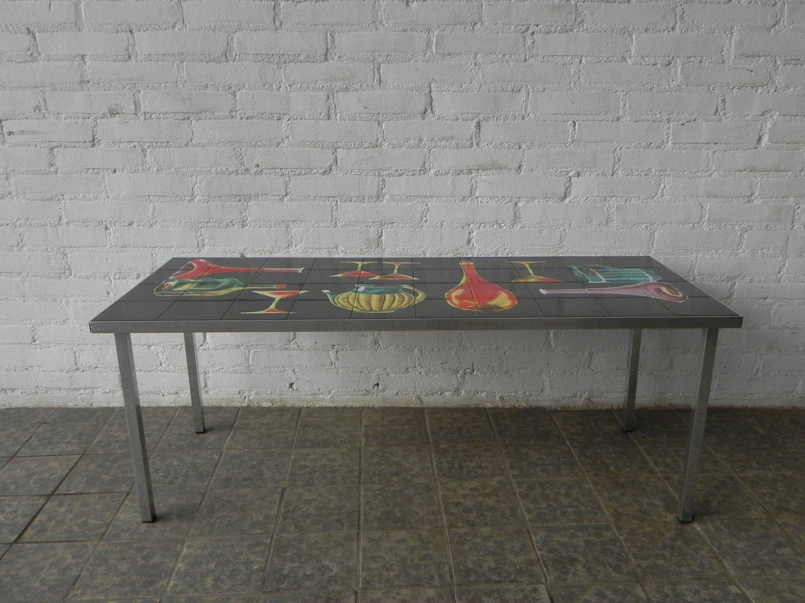 Vintage tisch mit dekorativen fliesen bei pamono kaufen for Tisch mit fliesen