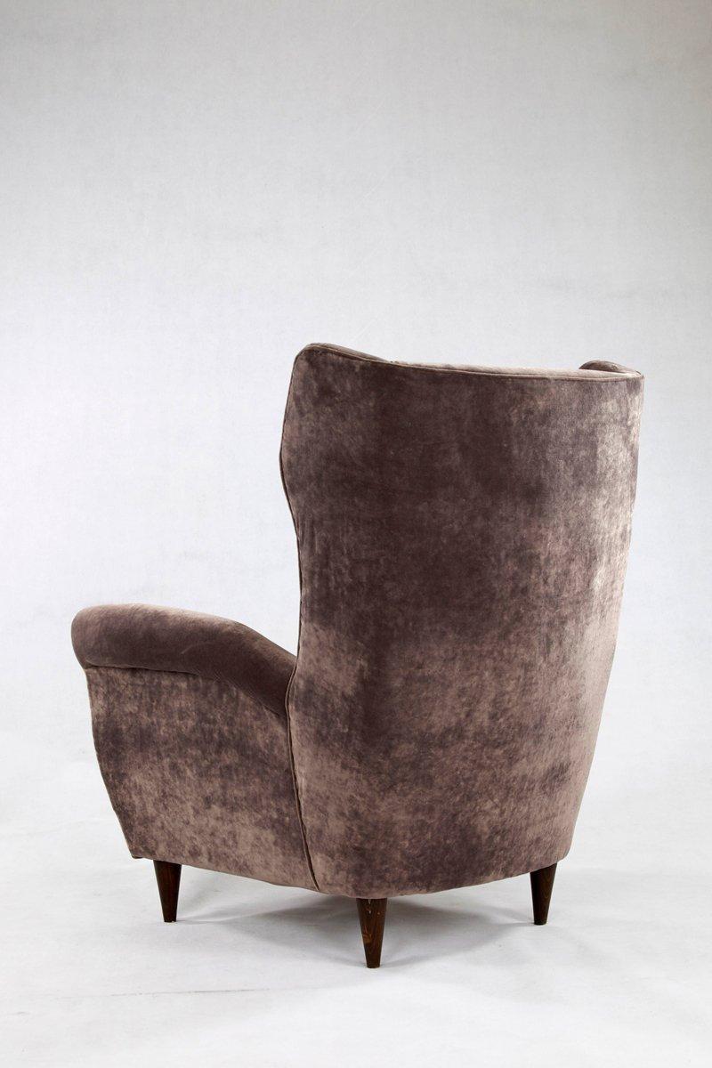 sessel aus grauem samt holz 1950er 2er set bei pamono. Black Bedroom Furniture Sets. Home Design Ideas
