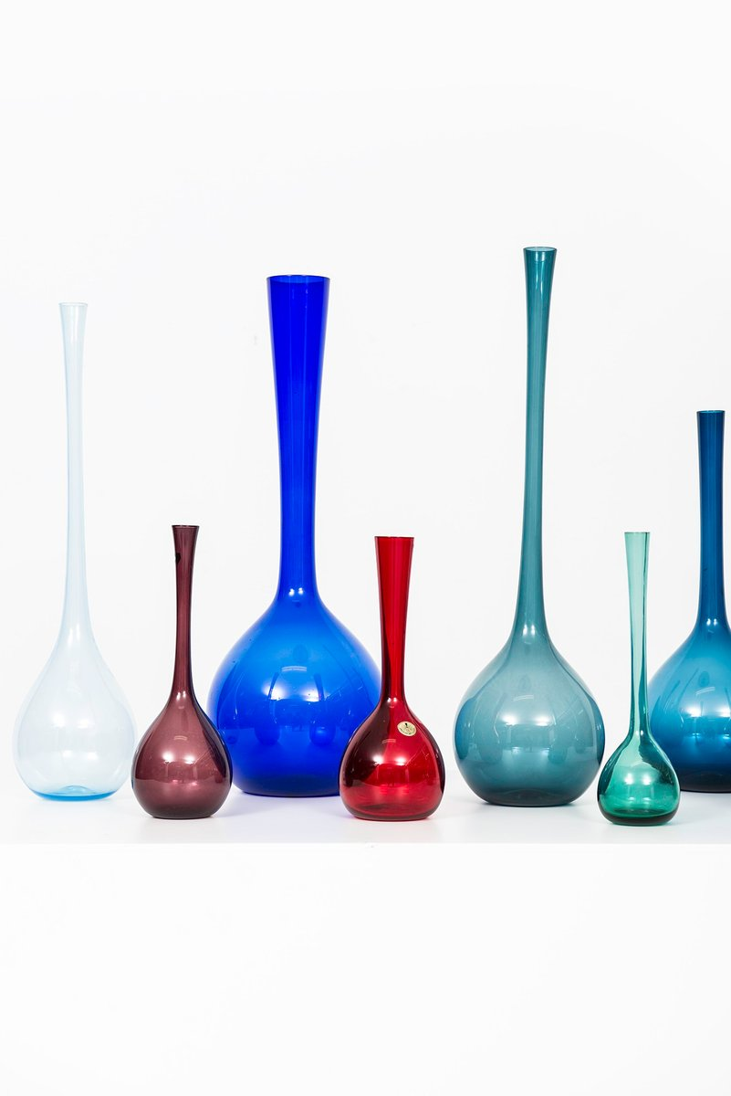 Colorful glass vases by arthur percy for gullaskruf 1950s set of colorful glass vases by arthur percy for gullaskruf 1950s set of 8 floridaeventfo Image collections