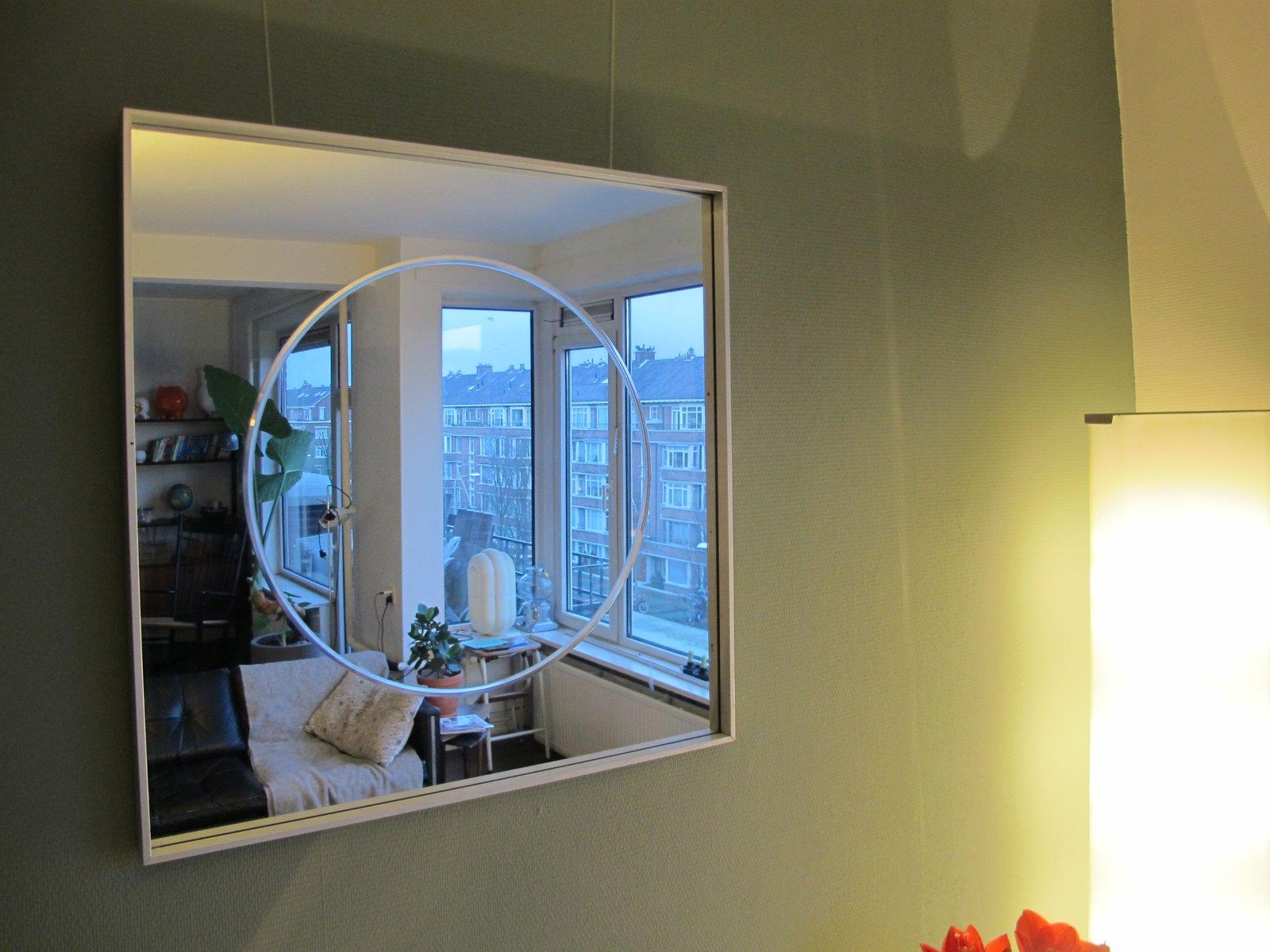 quadratischer vintage spiegel mit aluminium rahmen bei pamono kaufen. Black Bedroom Furniture Sets. Home Design Ideas