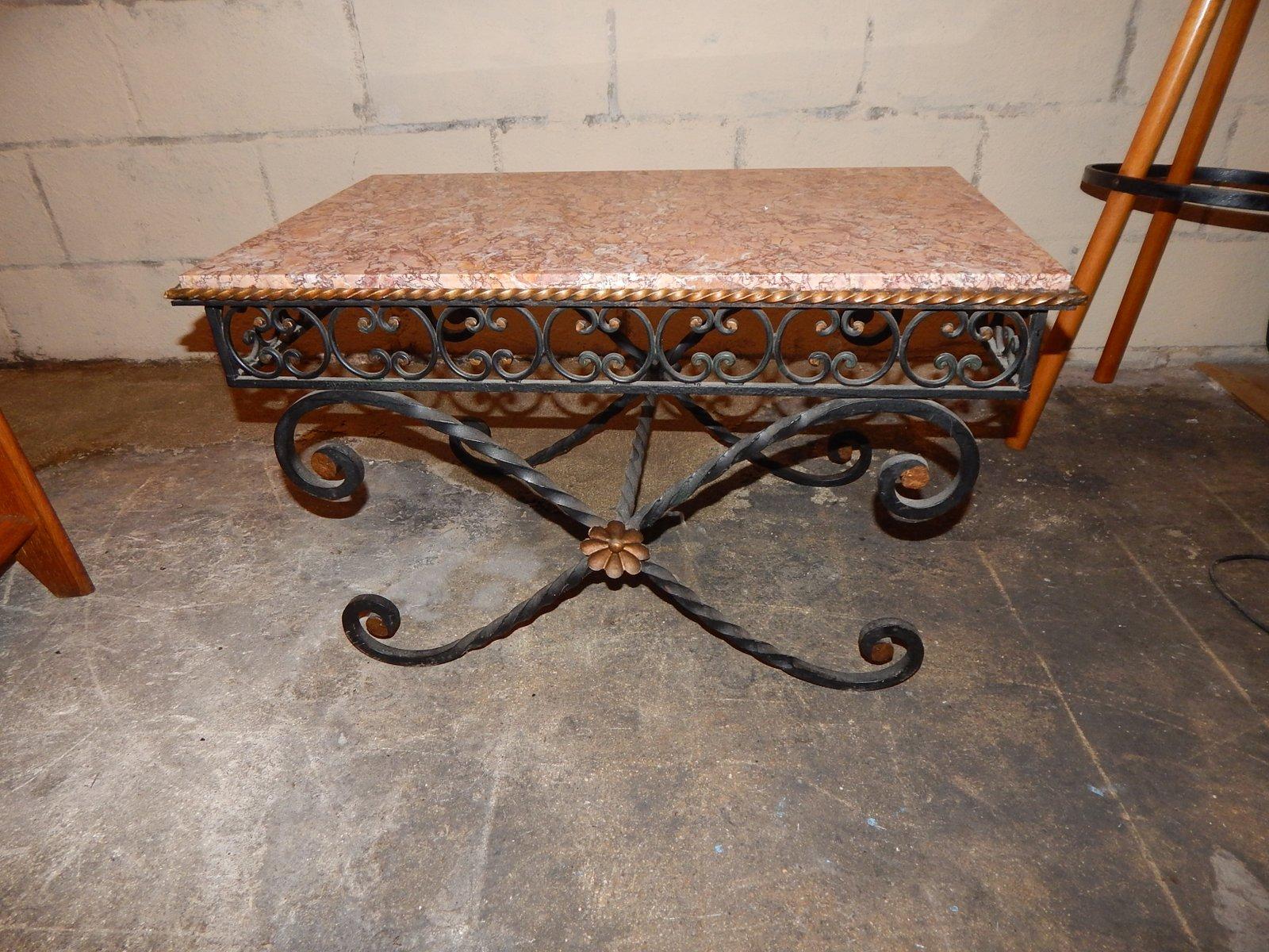 Tavolino da caffè vintage in ferro battuto e marmo, anni \'30 in ...